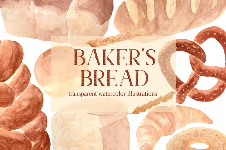 Bakers Bread PNG FoodWatercolor Clipart Set