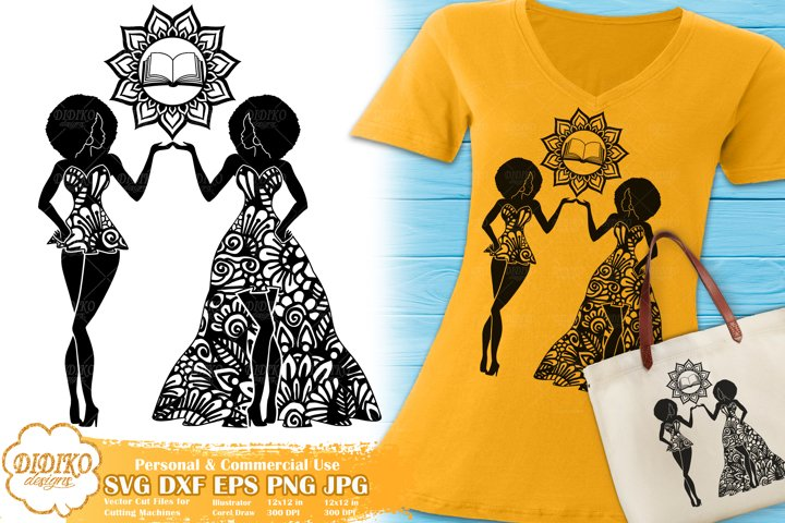 Gemini SVG | Black Woman SVG | Zentangle SVG | Zodiac Sign