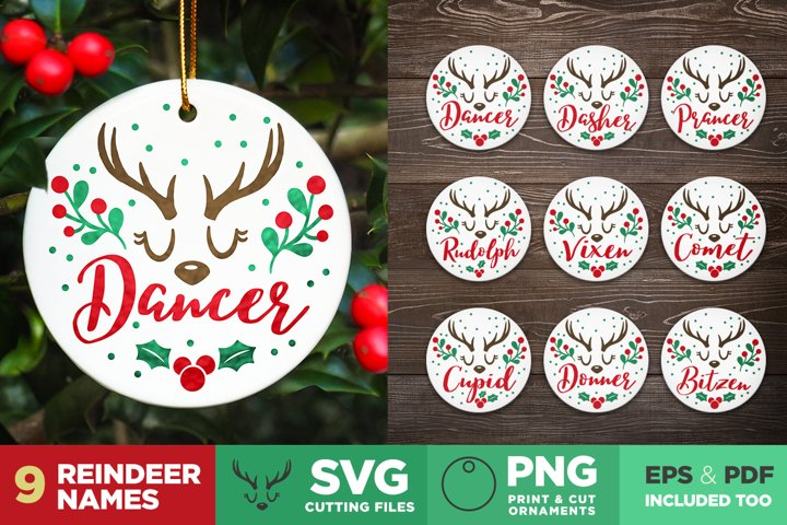 Reindeer Names   Christmas Ornaments   Cutting files