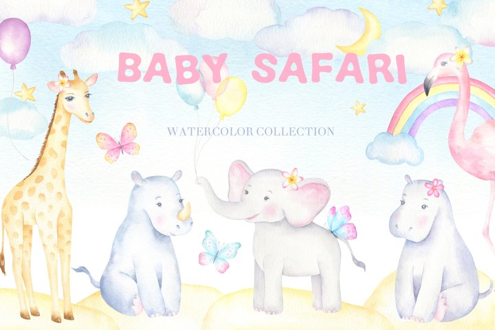 Baby Safari Watercolor Collection