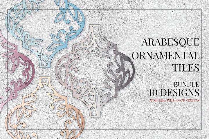 Arabesque Monogram Christmas Ornamental Tiles