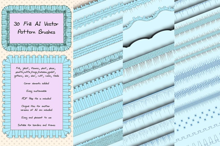 31 Sewing Vector AI Frill Pattern Brushes - Ruche and Folds