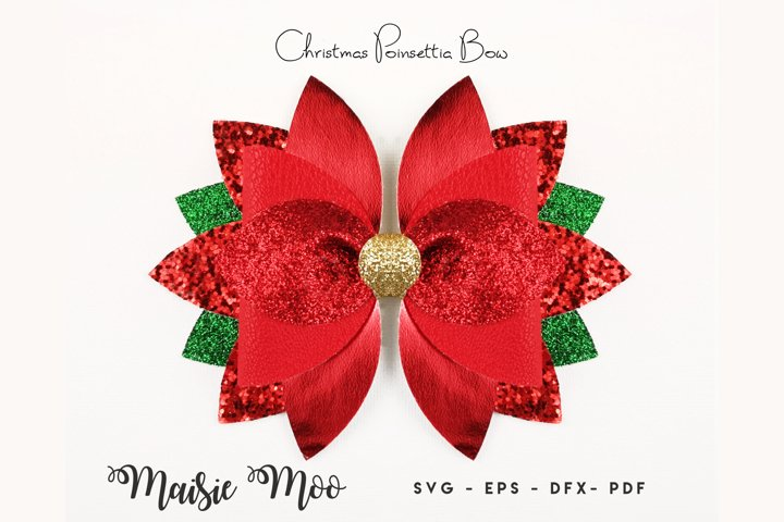 Christmas Hair Bow SVG Poinsettia Bow Template