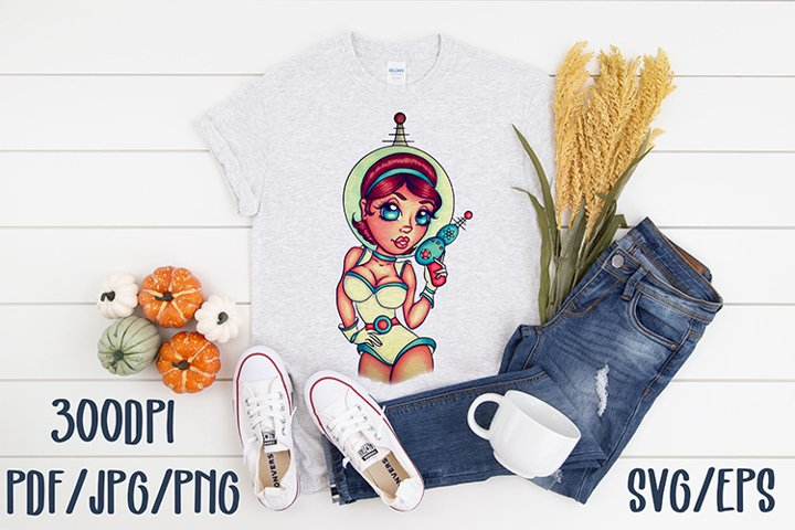 Astronaughty sassy astronaut pin up girl sublimation clipart