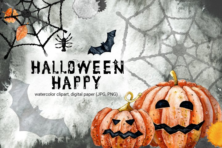 Halloween clipart and digital paper. Watercolor illustration