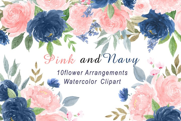 Watercolor flower bouquets. Pink and dark blue flowers