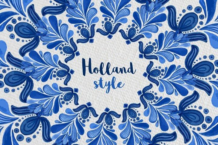 Holland Blue Watercolor ornament