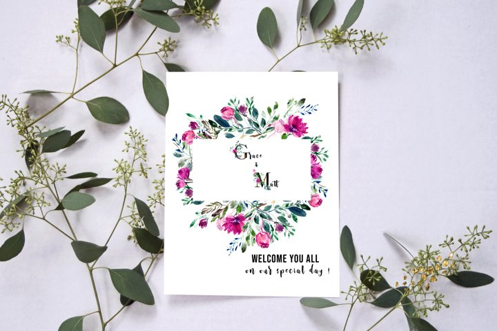 Watercolor floral frames, floral clipart, romantic borders