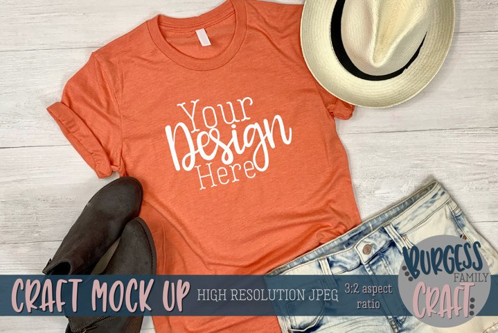 Summer orange shirt 3001 Craft mock up | High Res JPEG