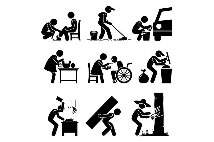 Odd Random Occupations Jobs Stick Figure Pictogram Icons.