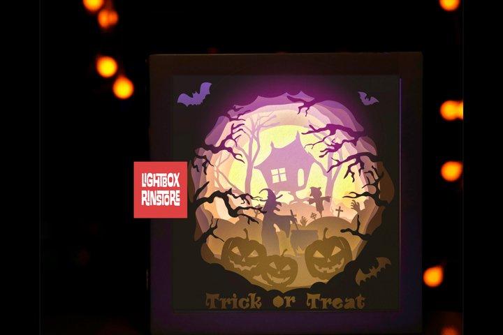 170 Halloween 3D Shadow box paper cut lightbox