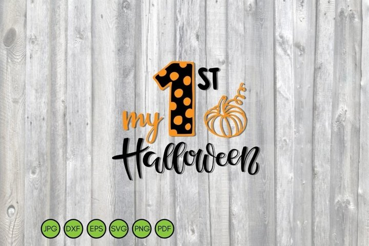 My 1st Halloween SVG with pumpkin. Quote for baby Halloween