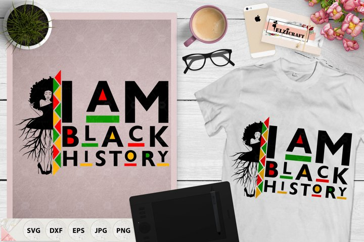 Afro Woman Roots,I am black history, Black History Month SVG