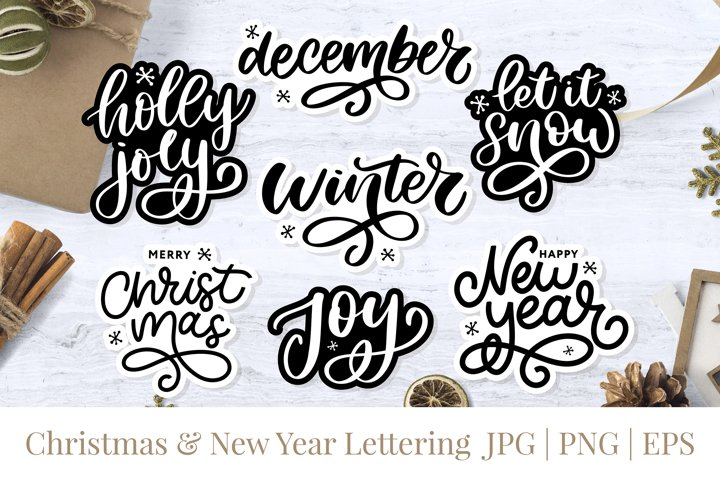Christmas & New Year Lettering Stickers