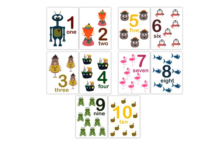 Animal numbers flash cards for kids. Printable cards