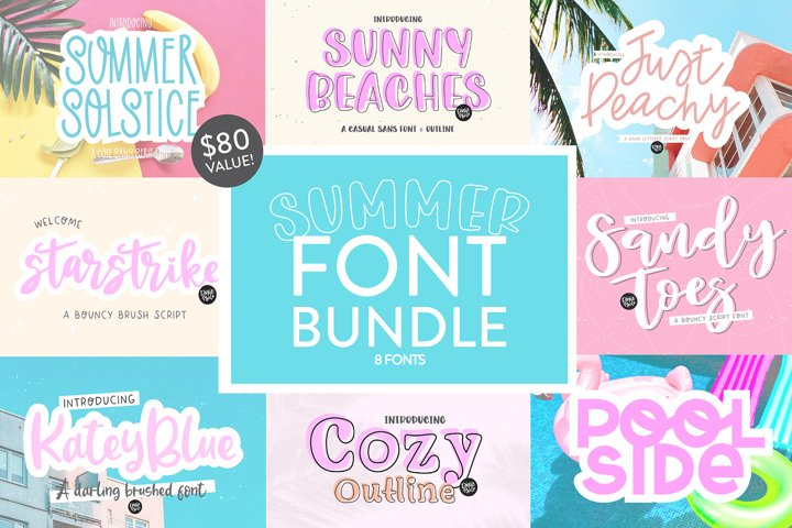 SUMMER Hand Lettered Font Bundle