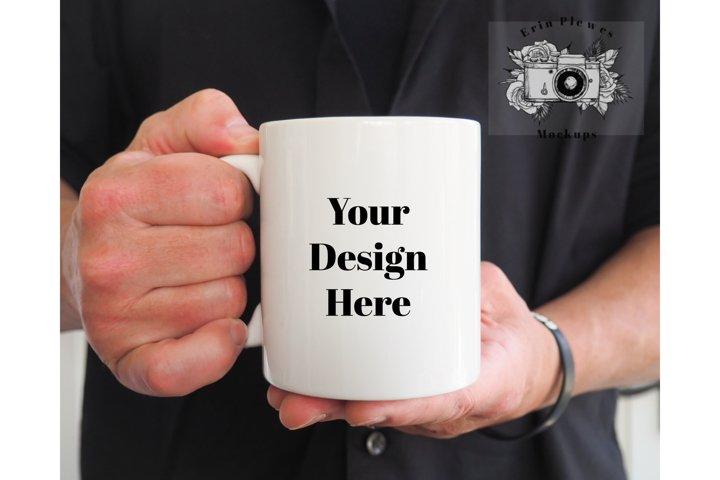 11oz White Coffee Mug Mockup |Man Holding Mug Mockup