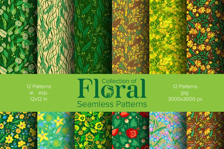 Collection of Floral seamless patterns