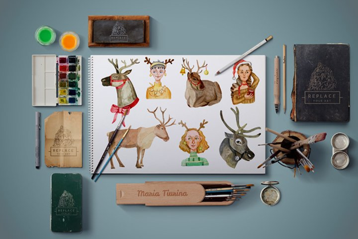 A set of Christmas watercolor illustrations example