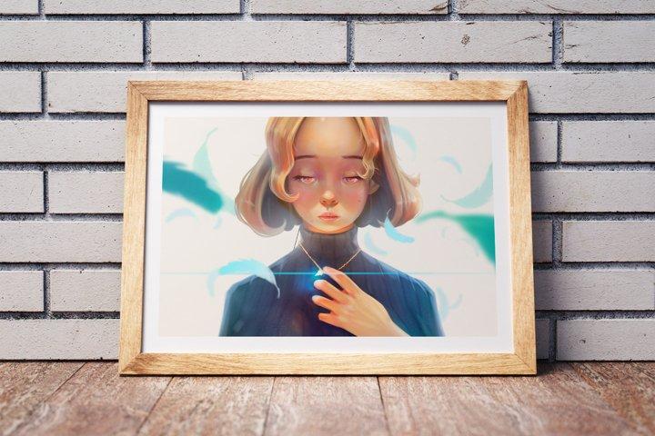 Illustration and design Asian, Anime girl. Digital painting