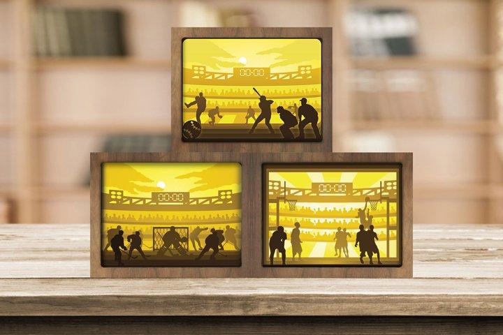Combo 3 Templates Sport 1 3D Paper Cut Light Box