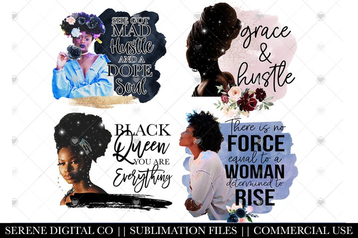 Black Woman PNG File Bundle - Sublimations File for Mugs