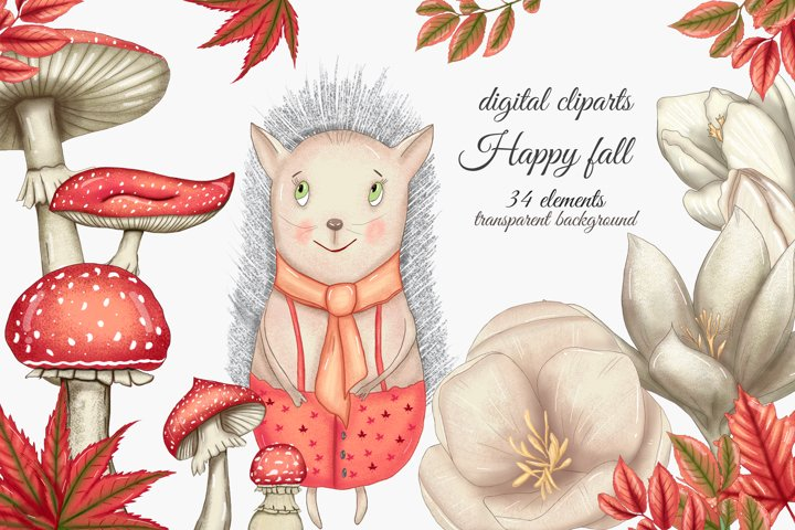 Happy fall cliparts, red fall leaves,crocus flowers,hedgehog
