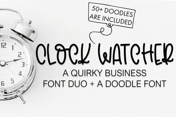 Clock Watcher Font Duo With Business Doodles - Free Font Of The Week