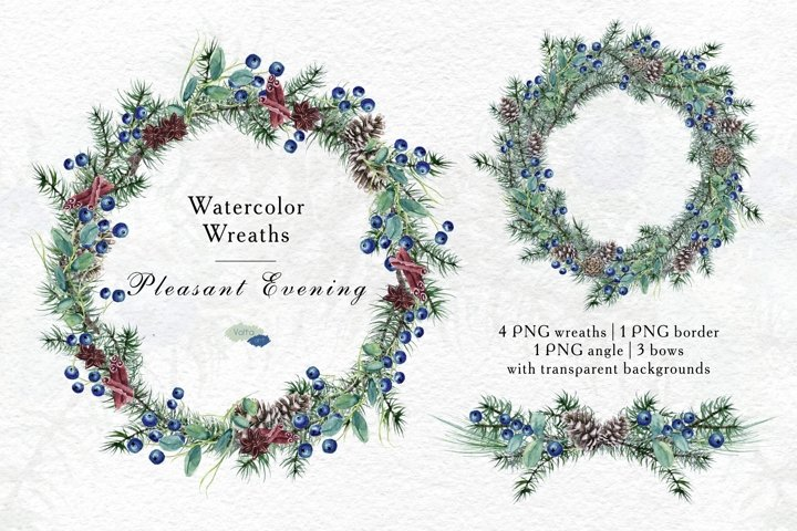 Watercolor Christmas Conifer Blueberry wreaths, Winter PNG