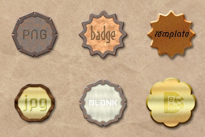 6 metallic Blank badge set. 3D rendering illustration.
