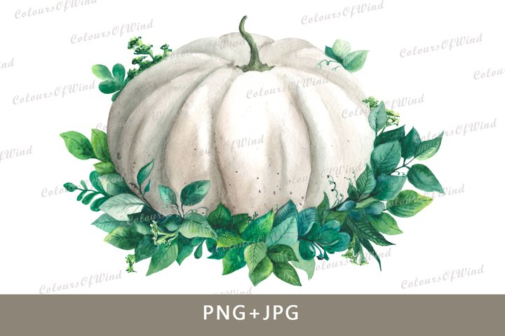 Watercolor pumpkin png. Autumn clipart. Pumpkin transfer.