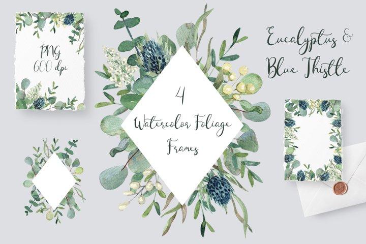 Eucalyptus & Blue Thistle Watercolor Frames Set