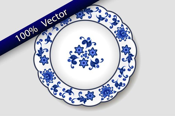 Decorative porcelain plate, floral blue on white pattern