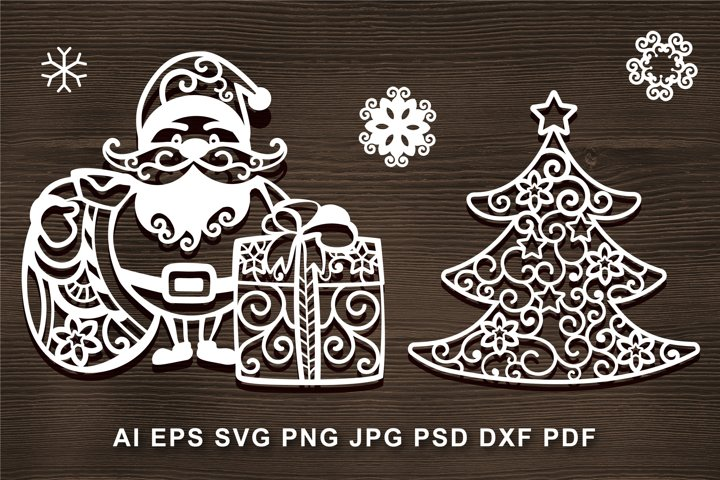 Santa Claus SVG cut file, gift. Christmas tree