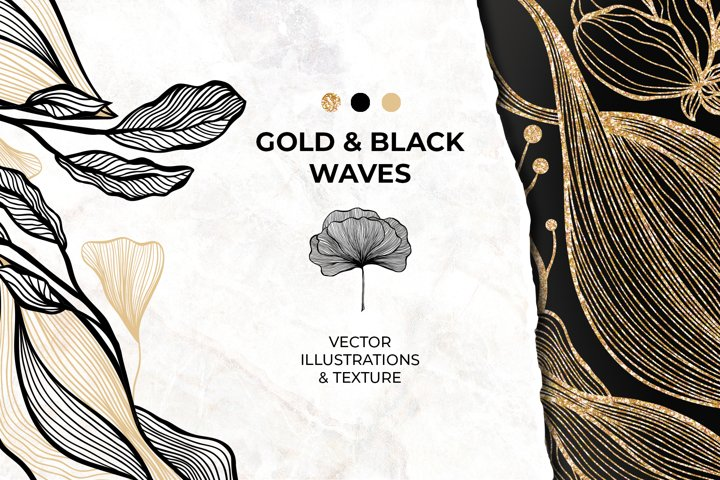 Gold & Black Waves. Lines, Flowers. Abstract Collection