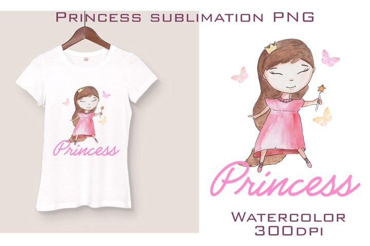 Watercolor princess sublimation Png, Princess clipart PNG