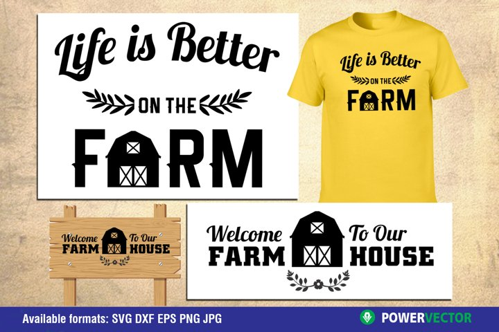 Farmhouse SVG, Dxf, Eps Files for Crafters