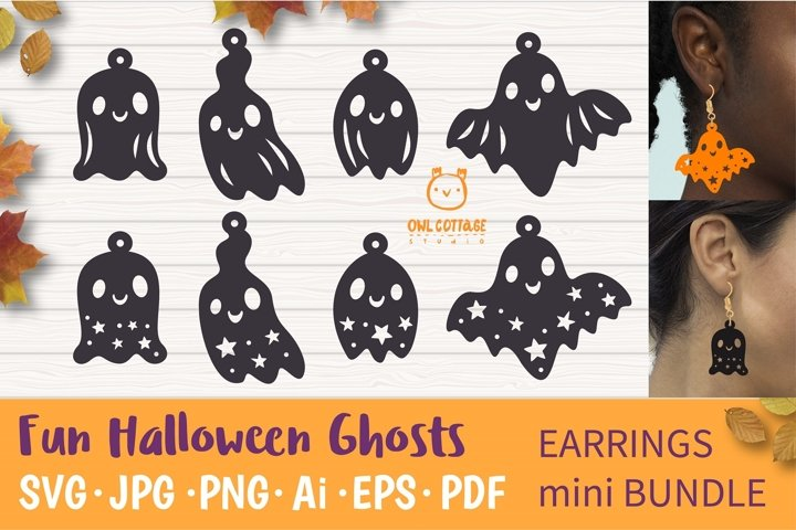 Cute Halloween Ghosts Earrings Set svg, Fun Halloween Earrin