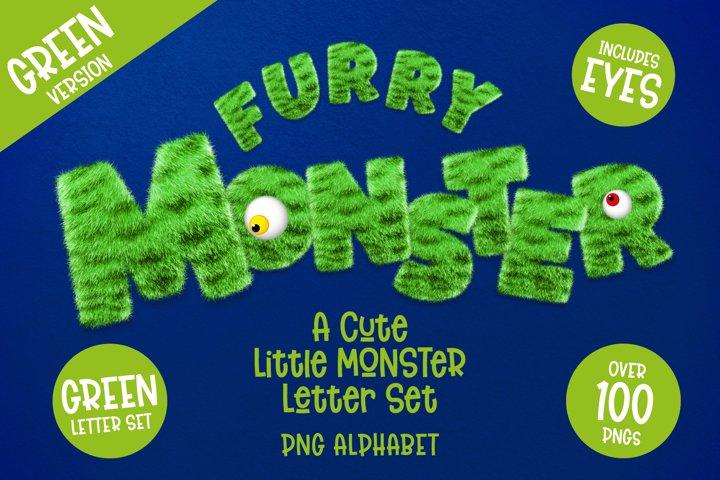 Furry Monster Alphabet - PNG Letter Set in Green