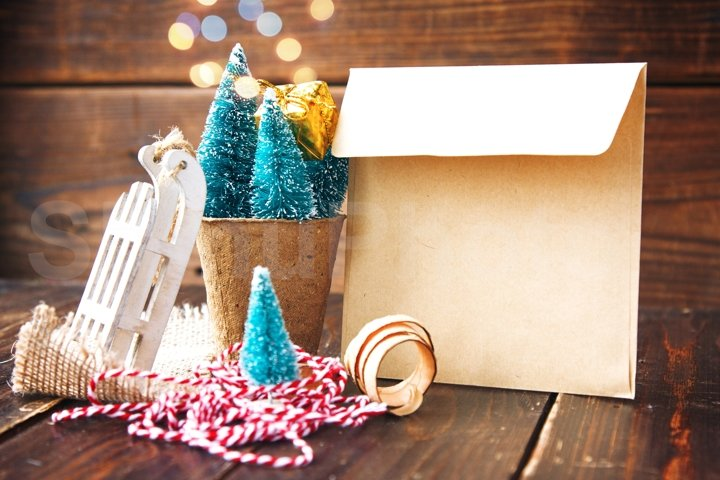 Christmas treees in biodegradable peat moss, craft envelope