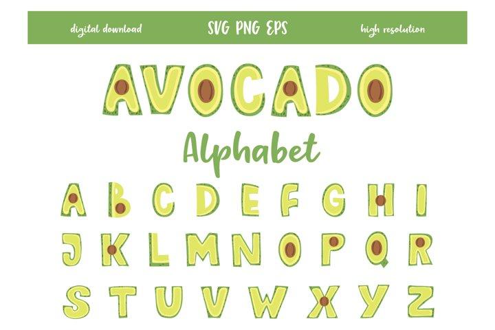 Digital Avocado Alphabet, Decorative Letters, SVG