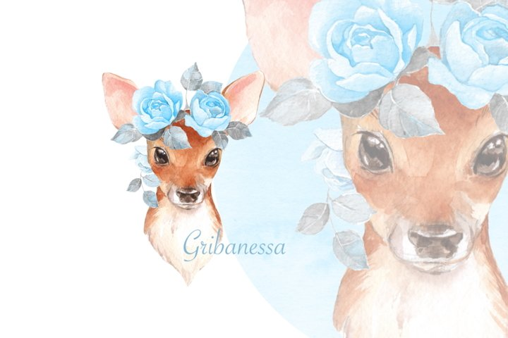 Fawn with blue roses