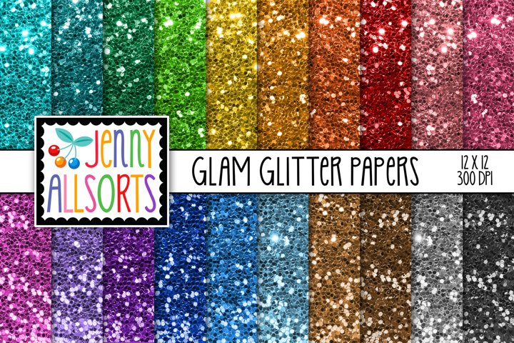 Glam glitter digital sequin papers, 20 shiny rainbow colors