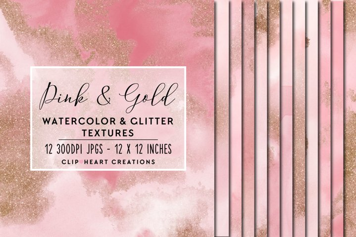 Pink Glitter Watercolor Digital Papers