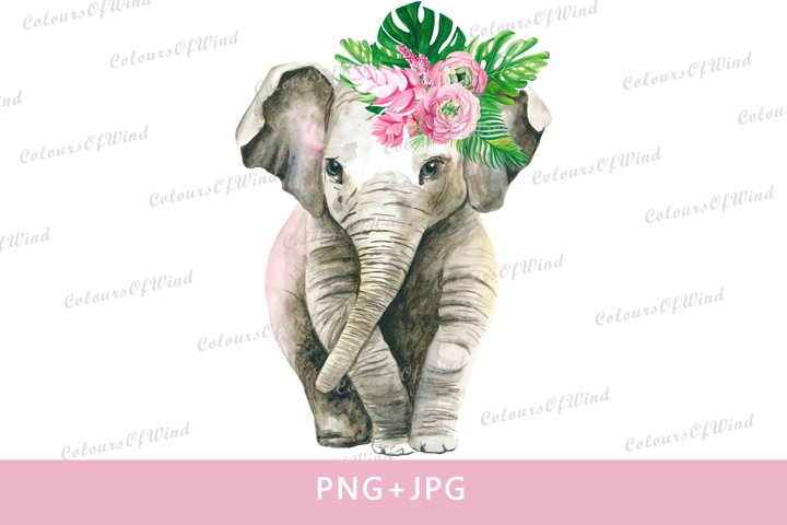 Watercolor girl elephant sublimation