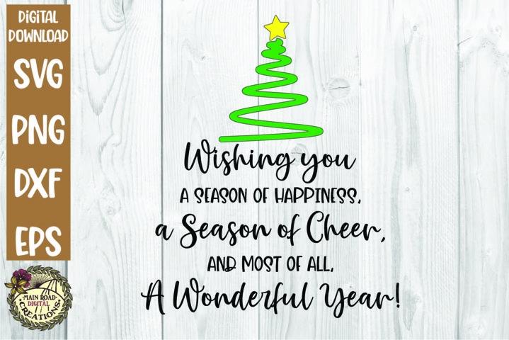 Christmas SVG-Wishing you a Season of Happiness-Wonderful