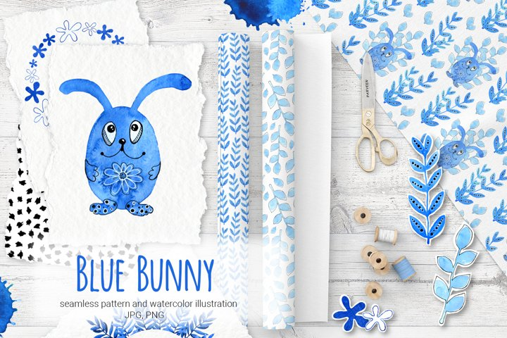 Blue Bunny. Cartoon animals. Watercolor. Digital paper.