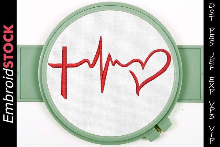 Love Cross EKG Heartbeat Embroidery Design