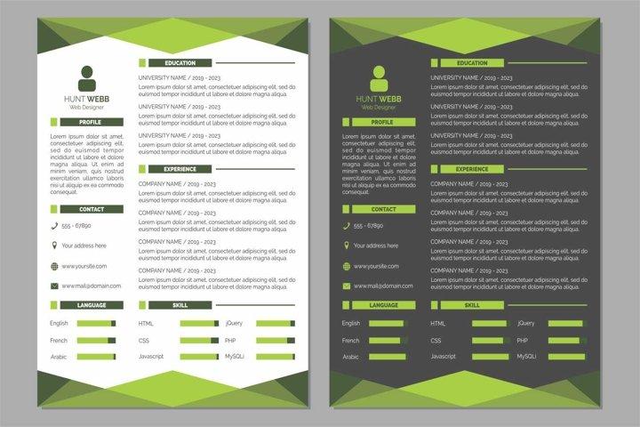 Curriculum Vitae Resume Clean and Dark Green Color