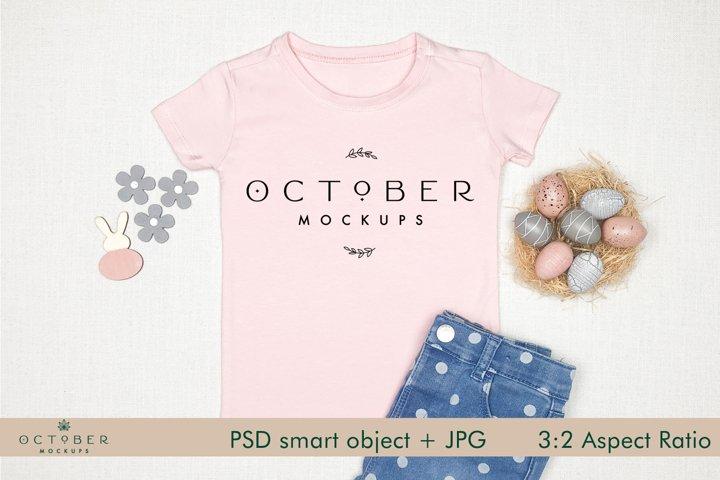 Easter Mockup Kids T-shirt Pink | JPG and PSD smart object